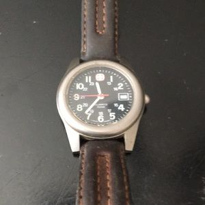 Swiss Marlboro watch w/ leather band by Wenger